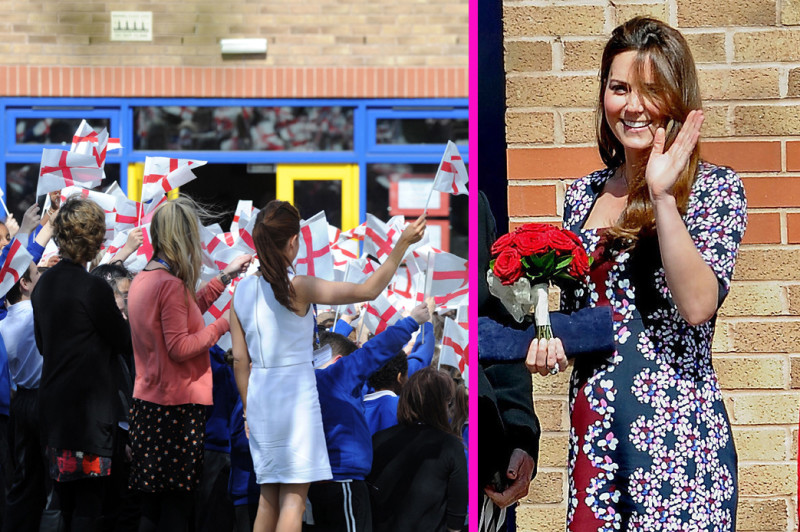 Catherine, Duchess of Cambridge visits Willows Primary School