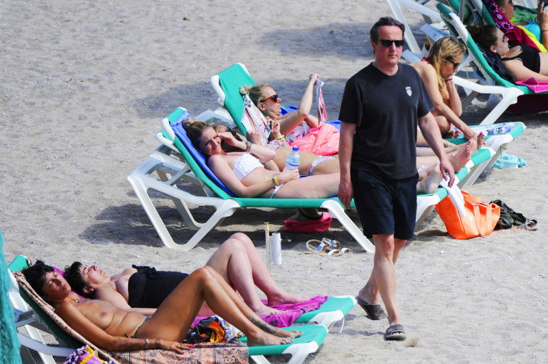 David and Samantha Cameron on the beach