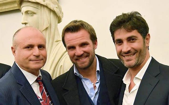 Campanella con gli attori Danilo Brugia e Angelo Costabile