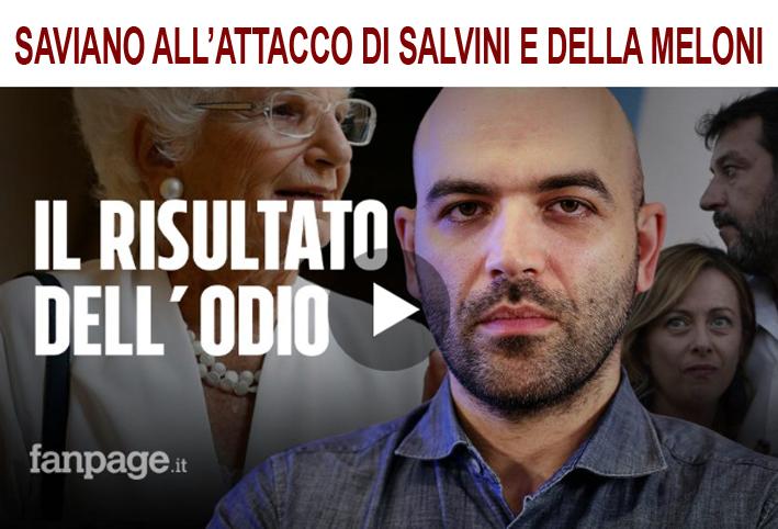"""Photo of Saviano all'attacco: """"Salvini e Meloni, due dei peggiori politici del nostro tempo…"""""""
